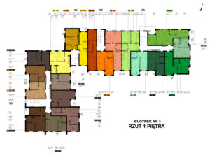 Blok numer 3 - rozkład mieszań piętro 1