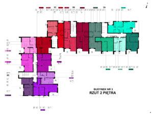 Blok numer 3 - rozkład mieszań piętro 2